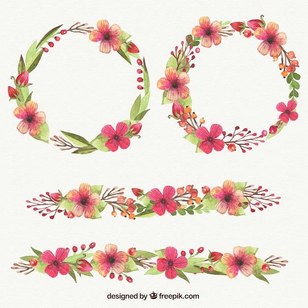 aquarelle couronnes de fleurs pack vecteur premium