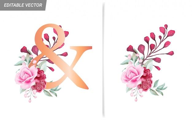 & Aquarelle Décoration Florale Pour Lettres, Chiffres Et Symboles Vecteur Premium
