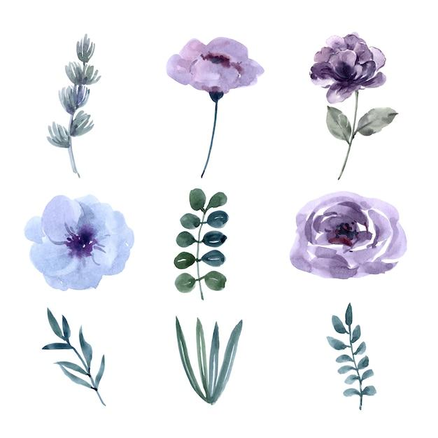 Aquarelle design élément mariage fleur Vecteur gratuit