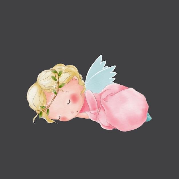 Aquarelle dessin animé mignon ange endormi Vecteur Premium