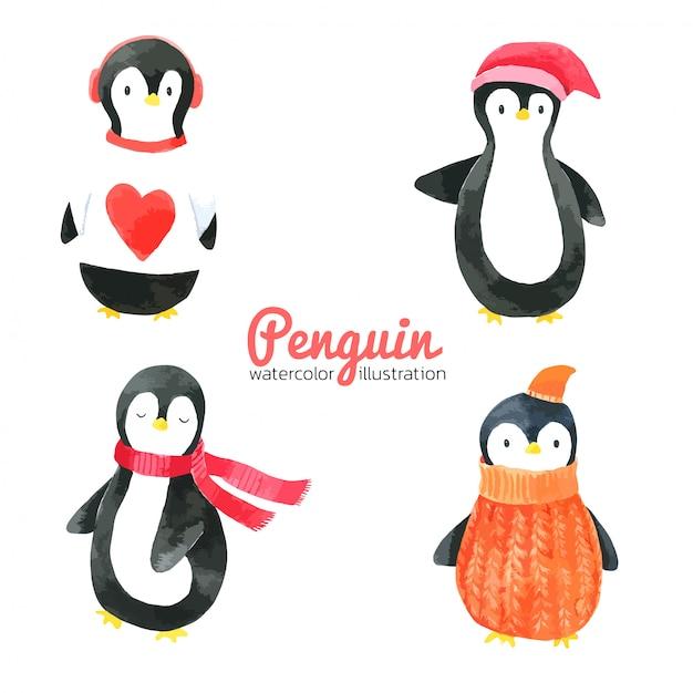 Aquarelle de dessin animé pingouin, dessiné à la main pour les enfants, carte de voeux Vecteur Premium