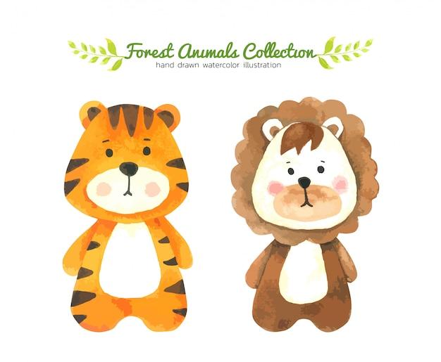 Aquarelle de dessin animé de tigre et lion, personnage peint de forêt-animal dessiné à la main pour enfants Vecteur Premium