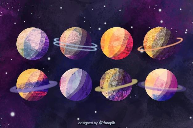 Aquarelle Différentes Planètes Vecteur gratuit