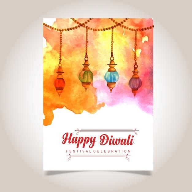 Aquarelle diwali affiche Vecteur gratuit