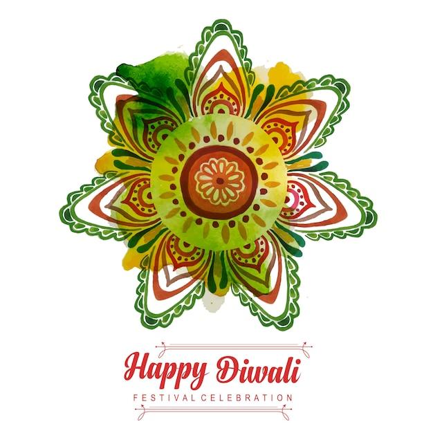Aquarelle Diwali Background Vecteur gratuit