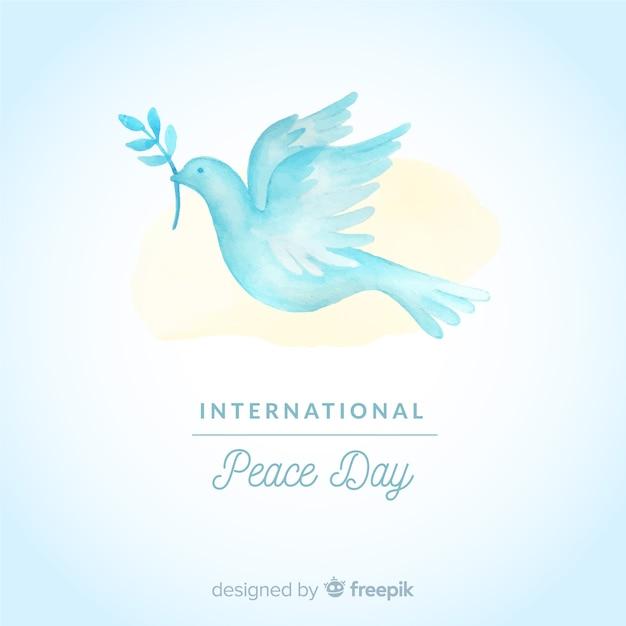 Aquarelle du jour de la composition de la paix avec la colombe blanche Vecteur gratuit