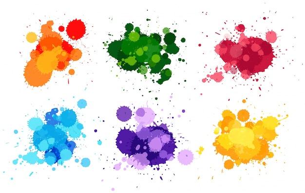 L'aquarelle éclabousse en six couleurs Vecteur Premium
