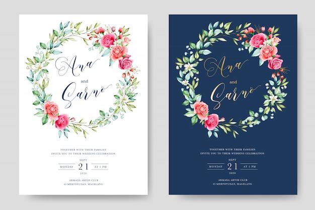 Aquarelle élégante floral et feuilles carte de mariage Vecteur Premium