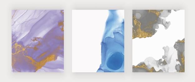 Aquarelle D'encre Violet, Bleu Et Noir Avec De L'or Vecteur Premium