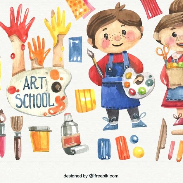 Aquarelle enfants avec du matériel scolaire d'art Vecteur gratuit