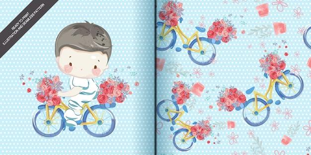 Aquarelle d'enfants en illustration et modèle sans couture. Vecteur Premium