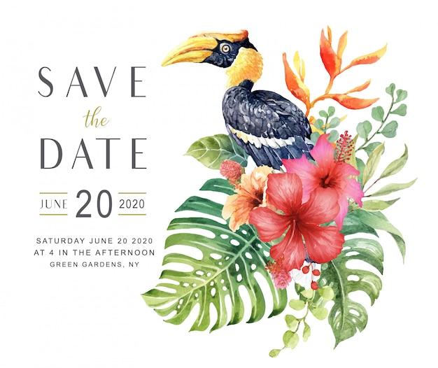 Aquarelle enregistrer la carte de date avec oiseau grand calao. Vecteur Premium