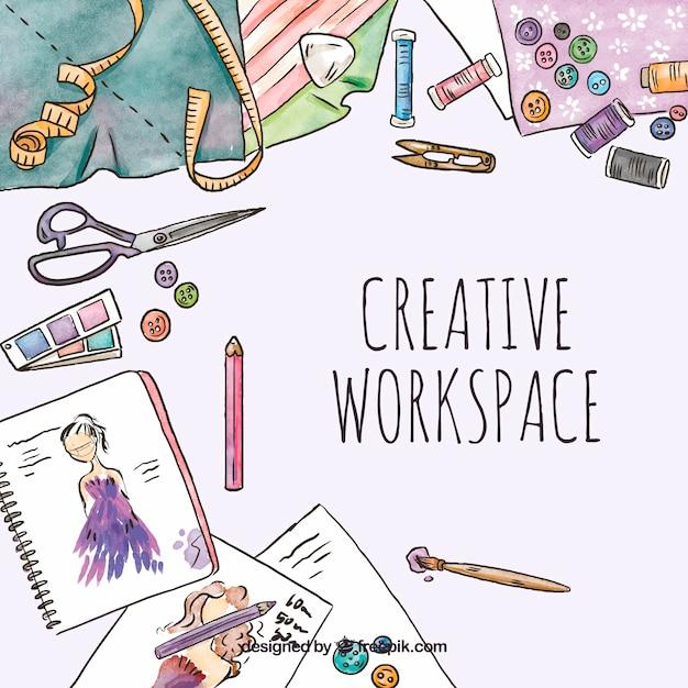 Aquarelle espace de travail créatif Vecteur gratuit