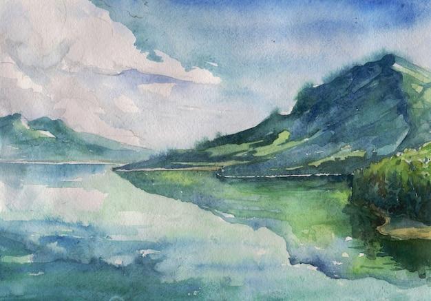 Aquarelle été paysage de rivière Vecteur Premium