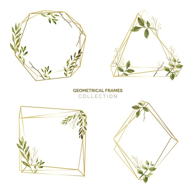 Aquarelle feuilles cadre ensemble Vecteur gratuit