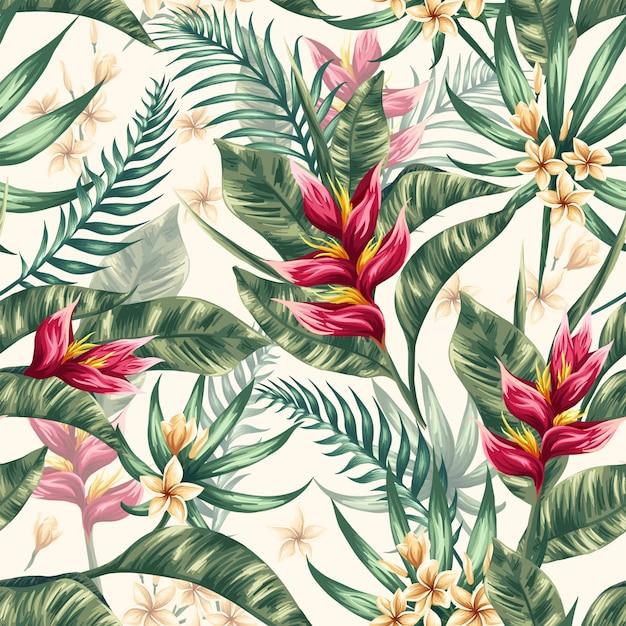 Aquarelle feuilles florales sans soudure de fond Vecteur Premium