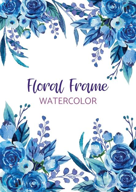 Aquarelle Fleur Fond Bordure Vecteur Premium