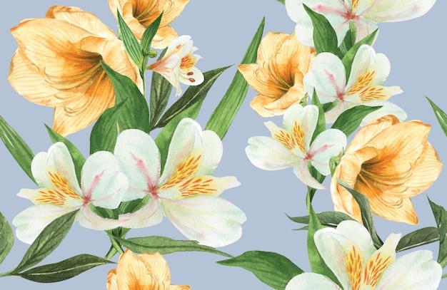 Aquarelle fleur motif botanique, carte de remerciement, illustration impression textile Vecteur gratuit