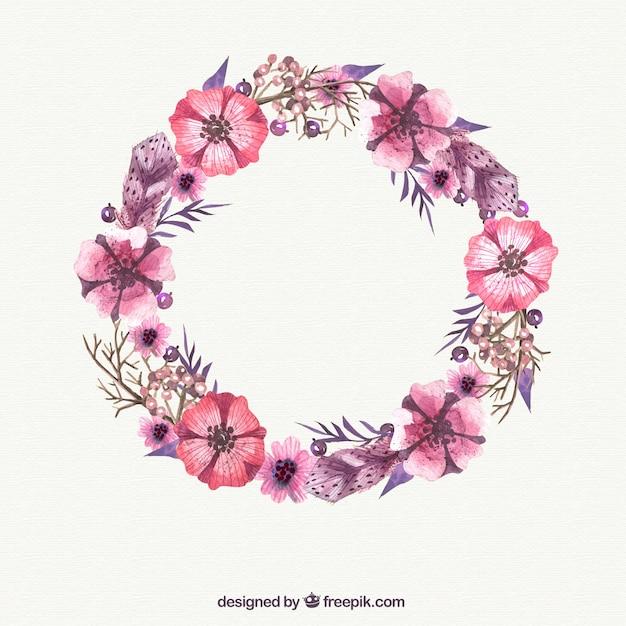 Aquarelle fleur rose couronne t l charger des vecteurs for Aquarelle fleurs livraison gratuite