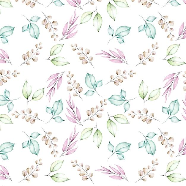 Aquarelle fleurs et feuilles modèle sans couture Vecteur Premium