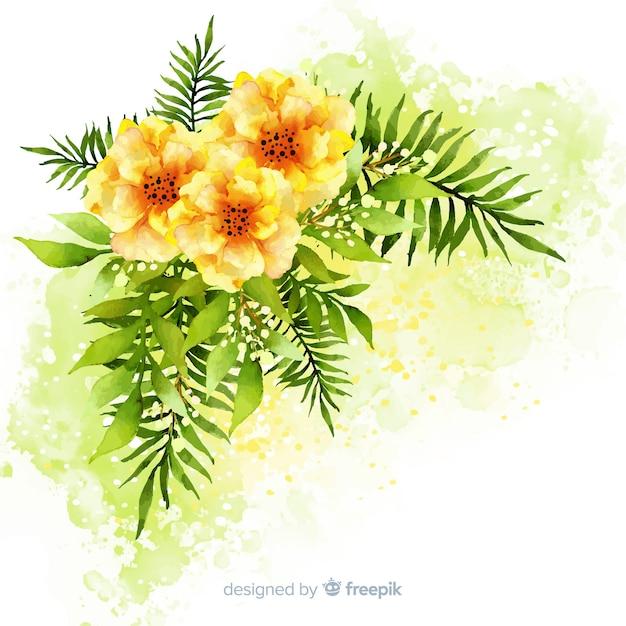 Aquarelle fleurs et feuilles Vecteur gratuit