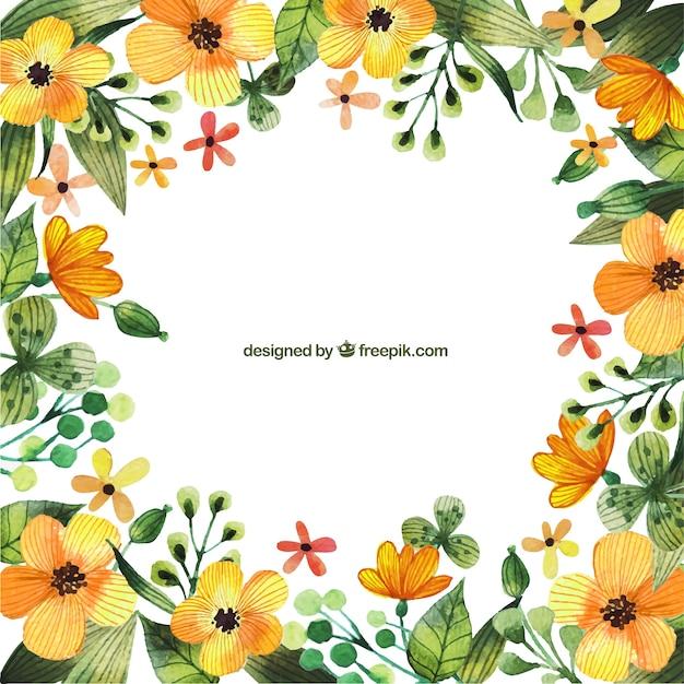 Aquarelle fleurs jaunes cadres t l charger des vecteurs for Aquarelle fleurs livraison gratuite
