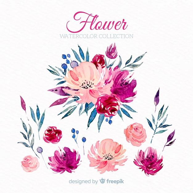 Aquarelle fleurs roses Vecteur gratuit