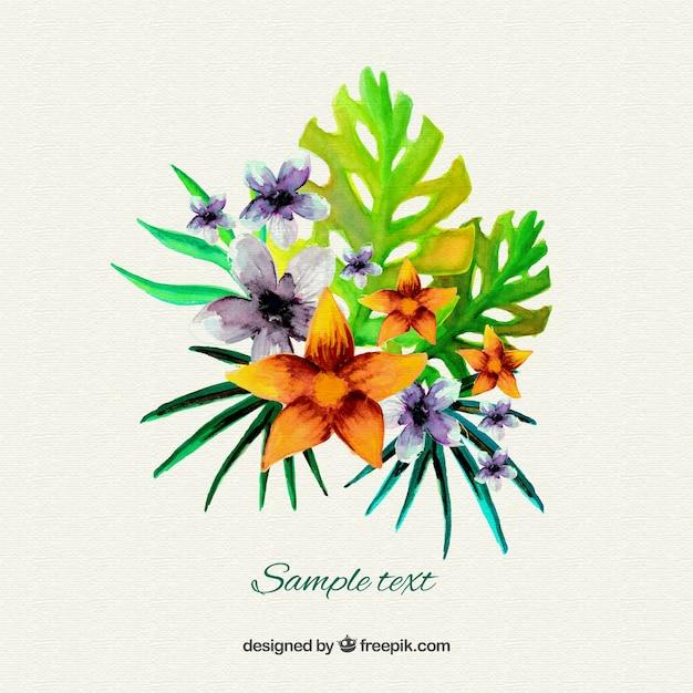 Aquarelle fleurs tropicales t l charger des vecteurs for Aquarelle fleurs livraison gratuite