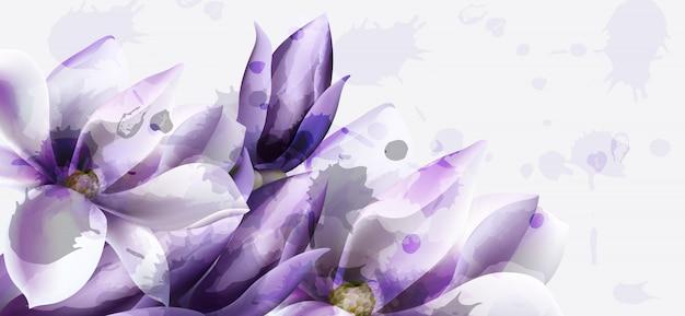 Aquarelle de fleurs violettes Vecteur Premium
