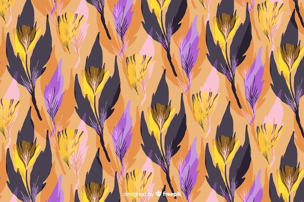 Aquarelle Floral Abstrait Avec Des Feuilles Vecteur gratuit