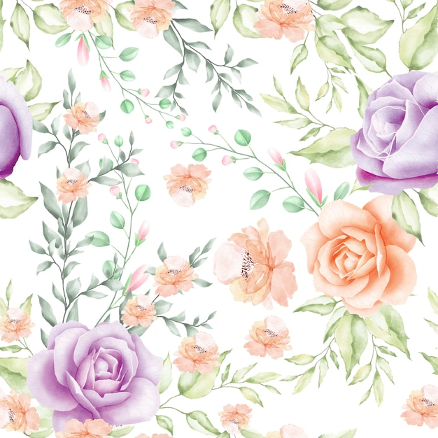 Aquarelle floral et feuilles transparente motif Vecteur Premium