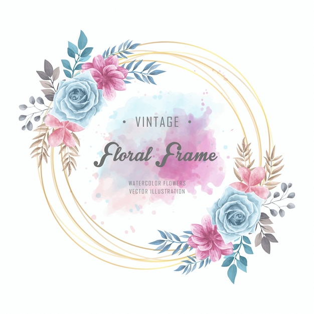 Aquarelle floral fleurs cadre cercle doré vintage Vecteur Premium