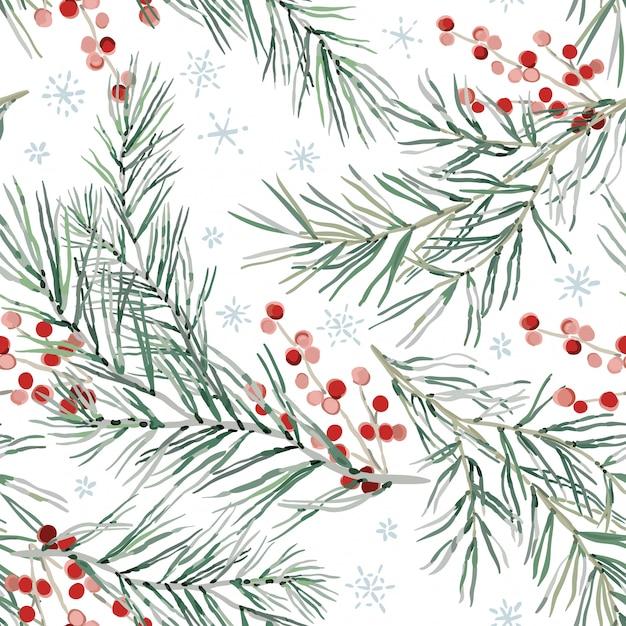 Aquarelle floral leaves seamless pattern Vecteur Premium