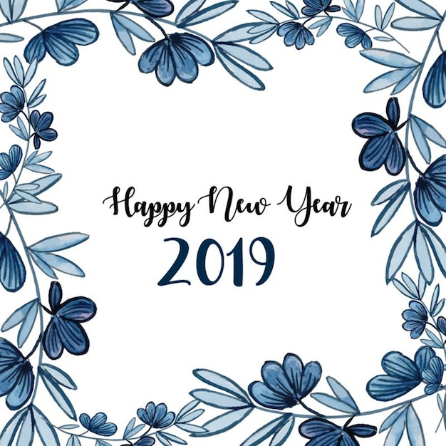 Aquarelle floral newyear background Vecteur Premium