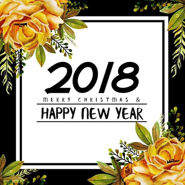 Aquarelle floral nouvel an 2018 Vecteur Premium