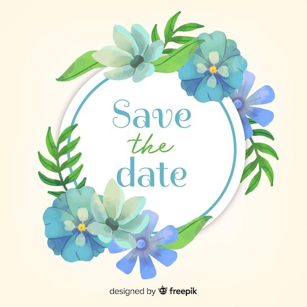 Aquarelle floral réserver la date Vecteur gratuit