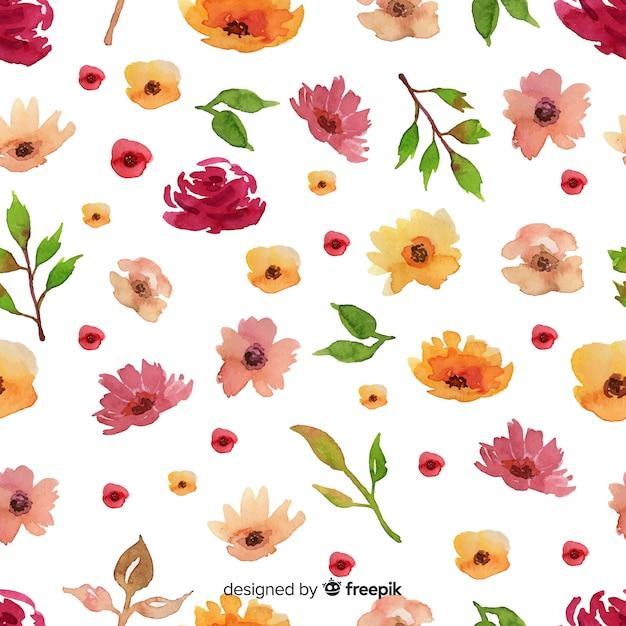 Aquarelle floral sans soudure de fond Vecteur gratuit
