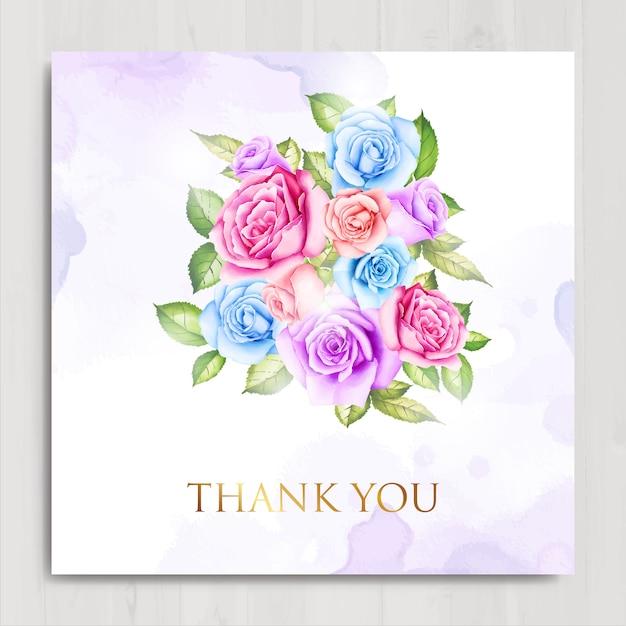 Aquarelle florale et feuilles carte de remerciement Vecteur Premium