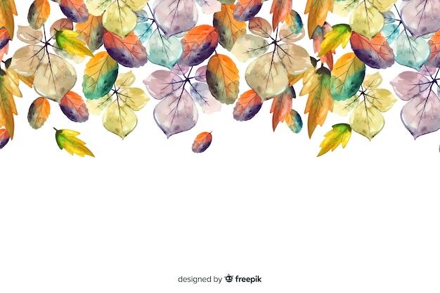 Aquarelle fond d'automne avec des feuilles Vecteur gratuit