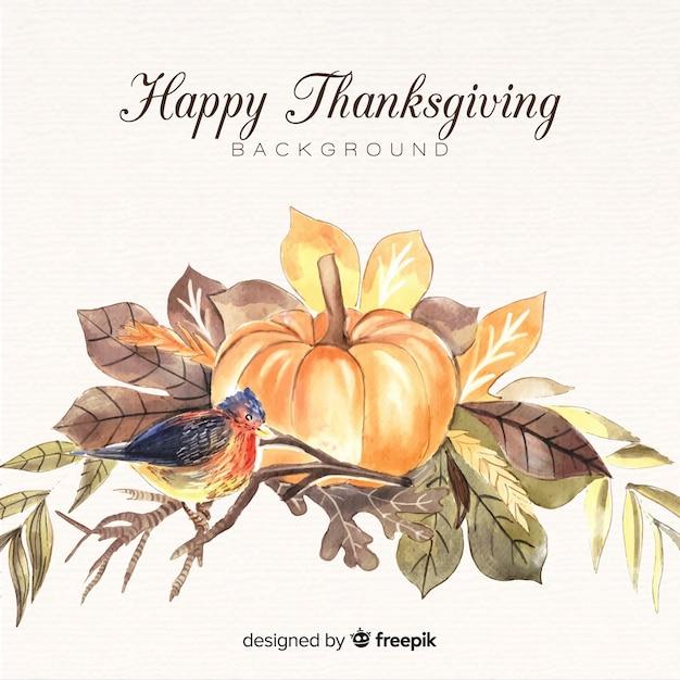 Aquarelle fond de bonne fête de thanksgiving Vecteur gratuit