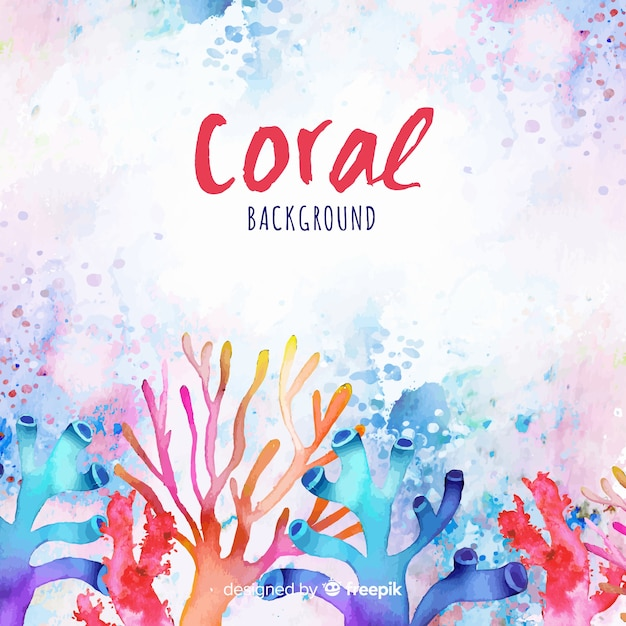 Aquarelle fond de corail coloré Vecteur gratuit