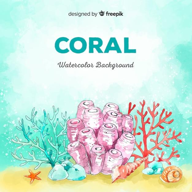 Aquarelle fond de corail Vecteur gratuit