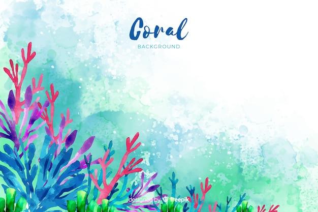 Aquarelle fond corail Vecteur gratuit