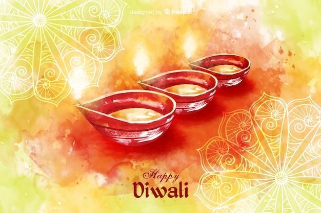 Aquarelle fond de diwali avec des bougies Vecteur gratuit