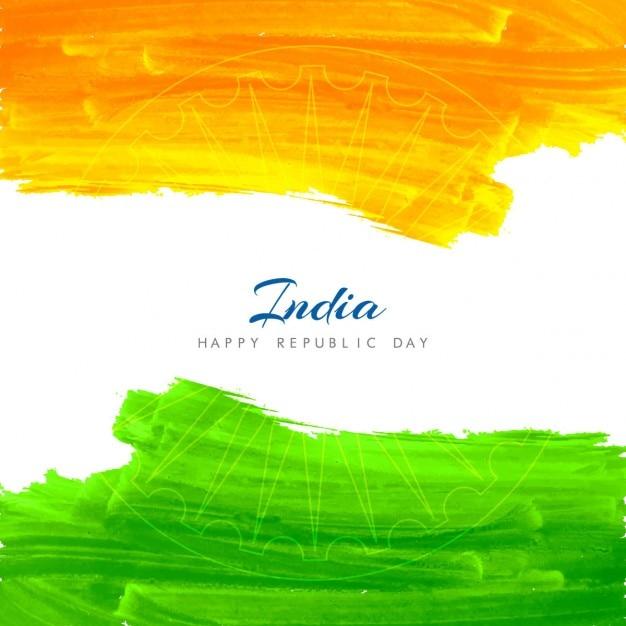 Aquarelle fond de drapeau indien Vecteur gratuit
