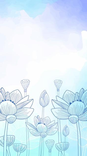 Aquarelle Fond D Ecran Mobile Fleurs Dessinees A La Main