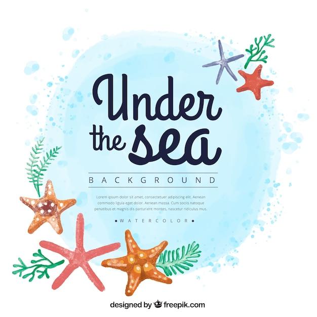 Aquarelle fond d'été avec starfishes Vecteur gratuit