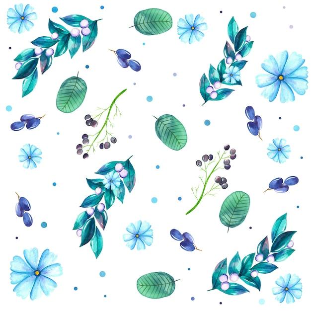 Aquarelle fond d'eucalyptus Vecteur Premium