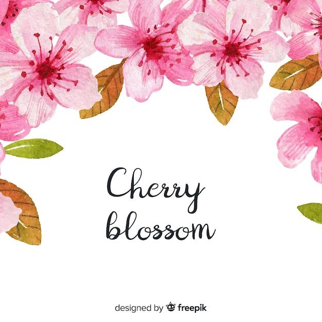 Aquarelle fond de fleurs de cerisier Vecteur gratuit