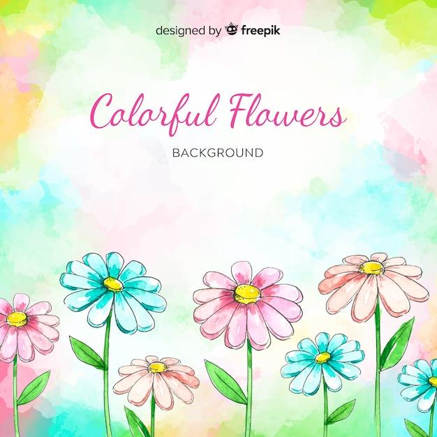 Aquarelle fond floral coloré Vecteur gratuit